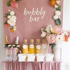Mimosa Monday, anyone? How cute is this Bubbly Bar for a bachelorette party! We'll be daydreaming about it all day 🥂 Bridal Shower Planning, Wedding Shower Games, Tea Party Bridal Shower, Bridal Shower Favors, Bridal Shower Pink, Wedding Showers, Wedding Parties, Bridal Shower Sayings, Gifts For Bridal Shower Games