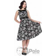 EVELYN Vestido Swing 50s Estampado Floral Rosas Negras