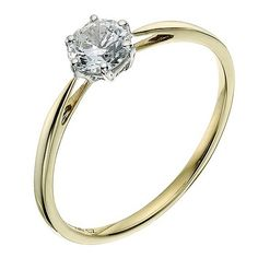 Silver & 9ct Yellow Gold Cubic Zirconia Solitaire Ring 5mm - Product number 9239367