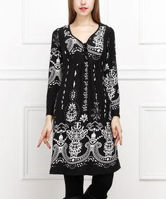 Another great find on #zulily! Black & White Art Nouveau Button-Front Dress #zulilyfinds