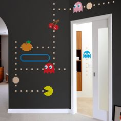 Pac-Man wall decals. I want these in my room right now.