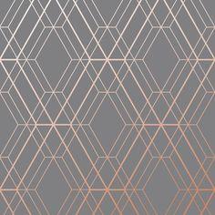 Metro Diamond Geometric Wallpaper - Charcoal and Copper - World of Wallpaper Wallpaper Wall, Diamond Wallpaper, Paper Wallpaper, Grey Bedroom Wallpaper, Wallpaper Borders, Grey Copper Wallpaper, Geometric Wallpaper Charcoal, Geometric Wallpaper Living Room, Geometric Curtains