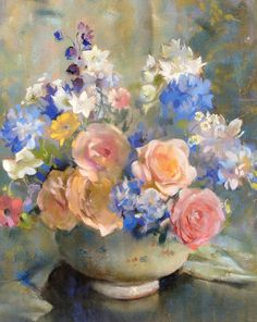 Laura Coombs Hills Roses and Larkspur Early 20th century