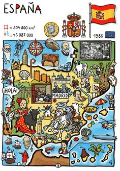 So many more opportunities for flags on this cute poster. Can you spot (besides the big one of Spain) that of the EU, France and Portugal? Ap Spanish, Spanish Culture, How To Speak Spanish, Spanish Lesson Plans, Spanish Lessons, Spanish Teacher, Spanish Classroom, Map Of Spain, Spanish Posters