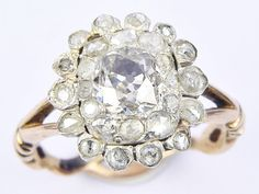 An antique English solid 18 carat gold (tests thereabouts) & silver ring, set with a cluster of foiled rose-cut diamonds. A wonderfully collectible early ring. RING SIZE : G ½ or 3 ¾ US (can be resized within reason). Antique Gold Rings, Silver Rings, Rose Cut Diamond, Carat Gold, 18k Rose Gold, Georgian, English, Engagement Rings, Antiques