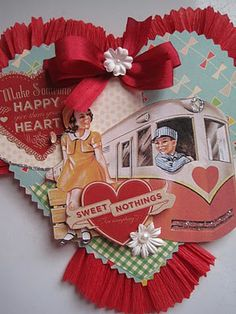 Train valentine - cute combination of vintage card and embellishments.