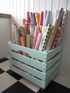 Wrapping paper storage--craft room when we finally buy a house Sewing Room Organization, Craft Room Storage, Storage Ideas, Craft Rooms, Organizing, Organization Ideas, Wrapping Paper Organization, Vinyl Storage, Fabric Storage