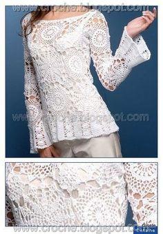 Items similar to Dress with bolero .Wedding elegant crochet women dress and bolero on Etsy Blouse Au Crochet, T-shirt Au Crochet, Pull Crochet, Mode Crochet, Crochet Shirt, Crochet Woman, Crochet Summer, Crochet Tops, Hand Crochet
