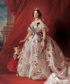 Portrait of Isabel II of Spain (detail), by Franz Xaver Winterhalter (German, Franz Xaver Winterhalter, Victorian Art, Victorian Fashion, Queen Isabella, Queen Elizabeth, Reine Victoria, Queen Victoria, Queen Photos, Isabel Ii