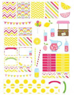Printable Planner Stickers Pink Lemonade Erin by LaceAndLogos Free Planner, Happy Planner, Stickers Cool, Bridal Shower Scrapbook, Journal Cards, Journal Stickers, Planner Sheets, Printable Planner Stickers, Day Planners