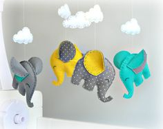 Elephant Baby Mobile - Crib Mobile - Yellow, Gray, Turquoise And White Polka…