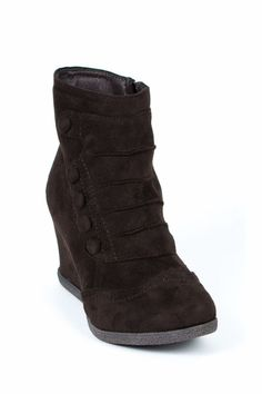 G.C. Shoes Women's Madeline Brown Faux Button Up Suede Wedge Boot 8 Medium $90 #Madeline #AnkleBoots