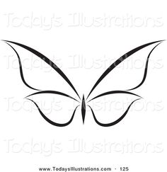 Clipart of a Black and White Flying Butterfly Logo with Wings Expanded