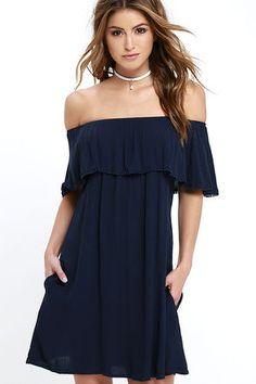 Signature Pose Navy Blue Off-the-Shoulder Dress at Lulus.com!