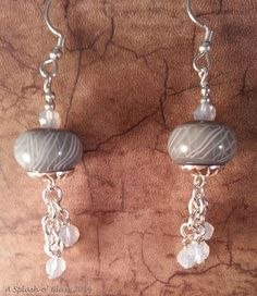 Classique Gray and White Lampwork Glass Earrings by ASplashOGlass