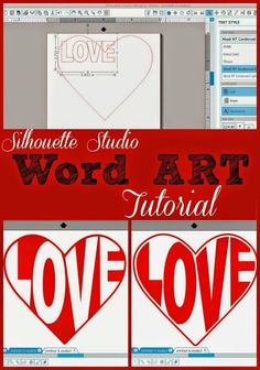 Silhouette Studio Word Art Tutorial (Shape Text: Heart) #Silhouette #Silhouetteideas #silhouetteprojects #silhouettecameo #silhouettetutorials