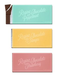 """Regina is a Portuguese chocolate brand founded in 1928. Their products are delicious but their identity really needs some love.   I have focused on the logo and packaging.The logo is combined with the flavour. As you see every flavour has it's own unique logo. Combined with the colours you get a new product which stands out. Logo and flavour-text is hand drawn. The rounded corners and swashes is a reference to their history and what it's all about – chocolate."""""""