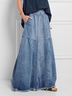 15 Colors Cotton&Linen Casual Solid Elastic A-line Skirts – Dressisi Denim Fashion, Look Fashion, Womens Fashion, Fashion Design, Fashion Styles, Fashion Clothes, Trendy Fashion, Fashion Outfits, Moda Jeans