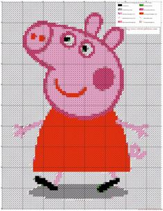 A simple pattern Peppa Pig made with Android App crosti - free cross stitch patterns simple unique alphabets baby Jumper Knitting Pattern, Knitting Stiches, Knitting Charts, Baby Knitting, Knitting Patterns, Beaded Cross Stitch, Crochet Cross, Cross Stitch Charts, Cross Stitch Embroidery