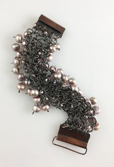 This image of the bracelet shows the Figure 8 chain that the pearls are attached to. Copper and pearls. Pearl Bracelet, Chains, Copper, Jewelry Making, Wire, Jewels, Create, Bracelets, Image