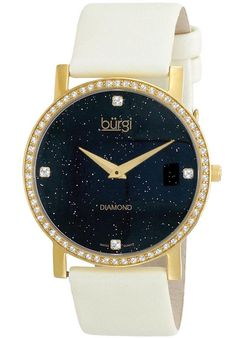 Price:$99.99 #watches Burgi BUR061YGW, This Burgi ladies Swiss quartz watch features a stainless steel construction and black satin strap. Four diamond hour markers and a sparkling dial make this timepiece perfect for any occasion.