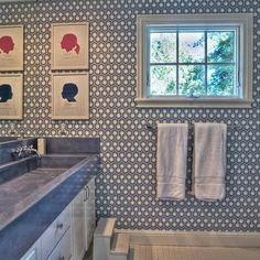 Hicks Hexagon Wallpaper, Contemporary, bathroom, Kriste Michelini Interiors