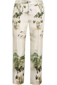 F.R.S For Restless Sleepers - Tartaro Printed Silk-twill Straight-leg Pants - Light green - medium
