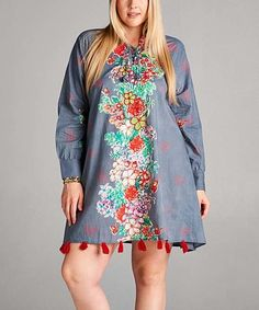 Loving this Gray & Red Floral Fringe Tunic Dress - Plus on #zulily! #zulilyfinds