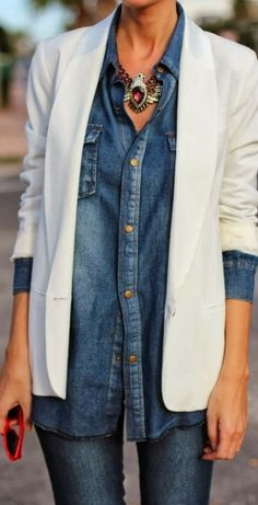 Stylish denim top with white blazer for fall fashion and eagle necklace