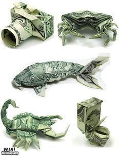origami money - What a fun way to give a money gift! Dollar Bill Origami, Money Origami, Origami Paper, Origami Boxes, Origami Ball, Folding Money, Paper Folding, Origami Folding, Creative Money Gifts