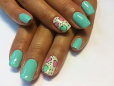 Beautiful summer nails, Heart nail designs, Hearts on nails, Manicure by summer dress, Medium nails, Mint nails, Nails ideas 2016, Nails under mint dress
