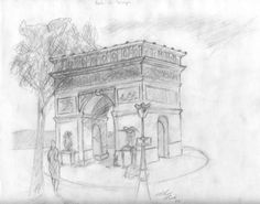 I drew this about 10 years ago while touring Paris. #Arc de triomphe