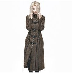 Punk Rave Women's Military Style Vintage Lace Up Overcoat Coffee Y 548