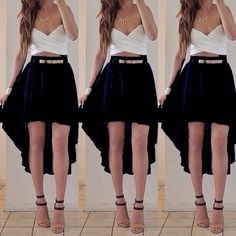High low black skirt maxi cute outfit date outfits, etekli kıyafetler, tu. Types Of Dresses, Cute Dresses, Casual Dresses, Girls Dresses, Maxi Outfits, Classy Outfits, Chic Outfits, Fashion Outfits, Black High Low Skirt