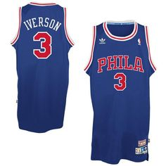 Mens Philadelphia 76ers Allen Iverson 1996-1997 adidas Royal Blue Hardwood  Classics Swingman Jersey