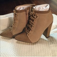 Michael Antonio ankle boots Brand new with box ankle boots! Zipper on side with laces in front! Heel height: 4 inches chunky heel! Shaft: 5 1/2 inches. Michael Antonio Shoes Ankle Boots & Booties