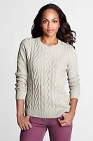 Buy Women's Ivory / Cream / Off-White Cable Knit Jumper Size:L (16/18) (Land's End). 60% cotton/30% nylon/10% wool