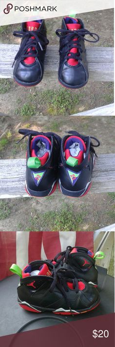 Nike Air Jordan Toddler girls size 10c This is a used pair of Nike Air Jordan Toddler girls size 10c, they are black, red, purple, green and orange leather shoe's. #304772-028. They are in great used condition. Please view the pictures and if you have any questions please ask. Nike Air Jordan  Shoes Sneakers
