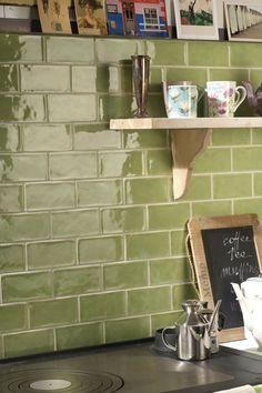 Crackle Glaze Menta Gloss Decorative from Mandarin Stone Green Kitchen Tile Ideas, Metro Tiles Kitchen, Green Kitchen Walls, Kitchen Tiles Design, Kitchen Wall Tiles, Kitchen Redo, Rustic Kitchen, Kitchen Remodel, Stone Kitchen