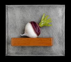 Art Glass,  'Single Turnip Still-Life', wall sculpture composed of hand blown glass turnip, stainless steel and mahogany. www.jenviolette.com Glass Wall Art, Stained Glass Art, Soft Layers, Wall Sculptures, Hand Blown Glass, Three Dimensional, Wind Chimes, Texture, Simple