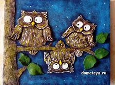 Owls on tree at night - key holder for 4 keys