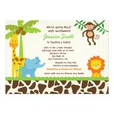 Safari Jungle Zoo Baby Shower Invitations Shower Invitations - Animal baby shower invitations templates