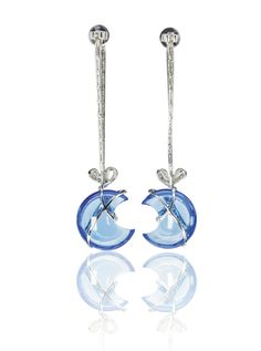 Eachmoon-shaped blue topaz highlightedwith a ribbon set with brilliant-cut diamonds,post and butterfly fittings, each signed Michele della Valle, numbered, m Moon Shapes, Makers Mark, Bling Bling, Blue Topaz, Diamond Cuts, Jewlery, Jewelry Accessories, Celestial, Earrings