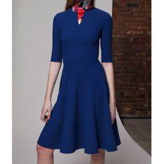 Solid Color Half Sleeve Flouncing Slimming Simple Style Women's Dress, BLUE, S in Dresses 2014 | DressLily.com