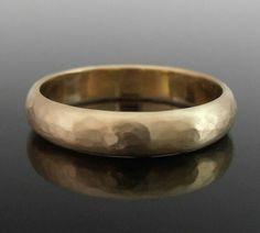 Hammered Half Round 14k Gold Band Ring, Gold Wedding Band, Gold Wedding Ring, 4 x 1.4 mm, Matte Finish
