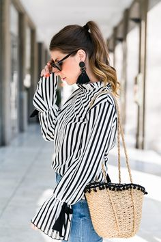 Stripes, Statement Sleeves & Earrings