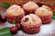 Muffin with Pineapple and Cherries Good Food, Yummy Food, Romanian Food, Dessert Recipes, Desserts, I Foods, Cooking Recipes, Easy Recipes, Muffins