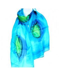 Cet accessoire indien est un joli foulard en soie de couleur turquoise. Il  possède un bb6705a159e