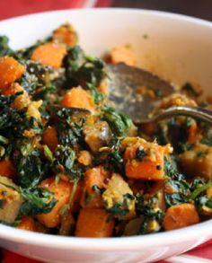 Low FODMAP Vegetarian Recipe and Gluten Free Recipe -  Spinach, eggplant and pumpkin curry