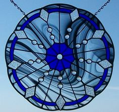Round Stained Glass Window, Home Decor Stained Glass Panel. Beautiful!